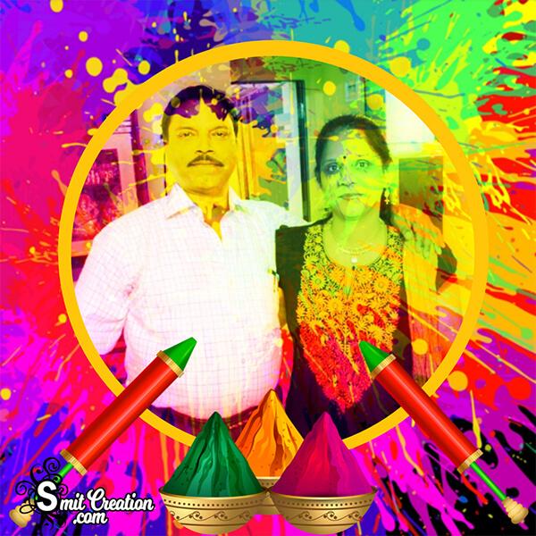 Colourful Holi Photo Frame