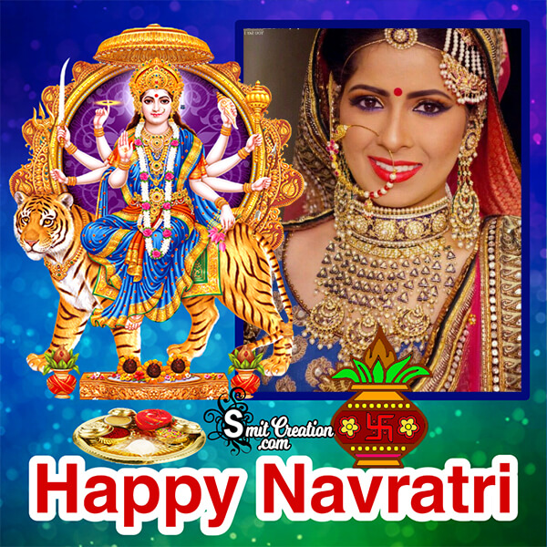 Happy Navratri Blue Frame
