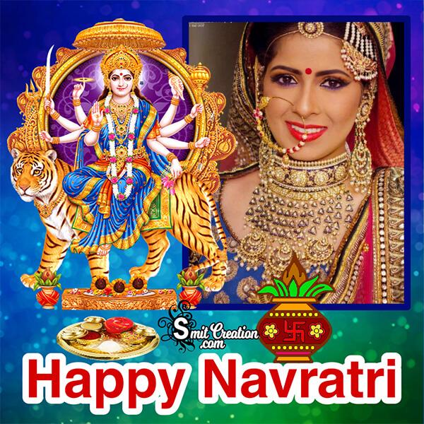 Happy Navratri Blue Frame