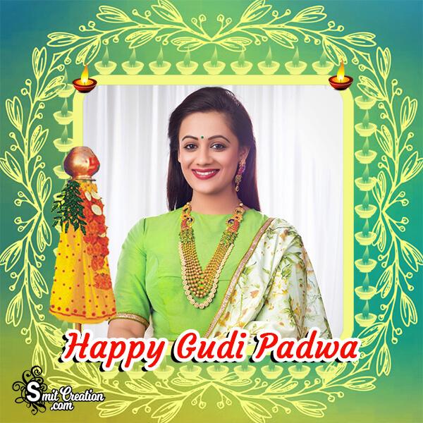 Happy Gudi Padwa Greenish Frame