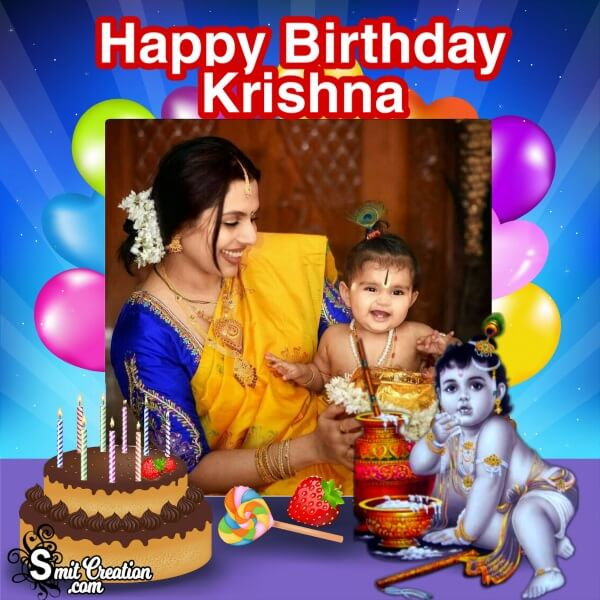 Birthday Krishna Photo Frame