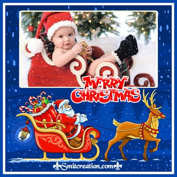 Santa On Sledge Photo Frame