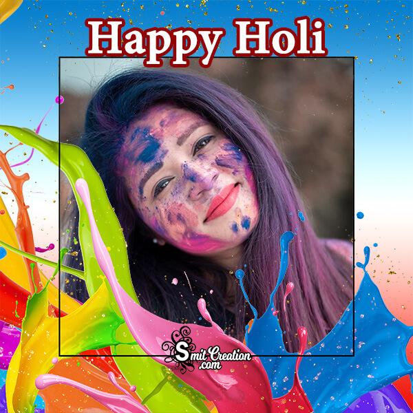 Happy Holi Colour Splash Frame