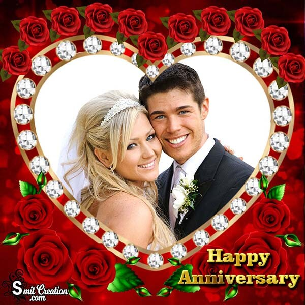 Happy Anniversary Roses Dimond Heart Photo Frame
