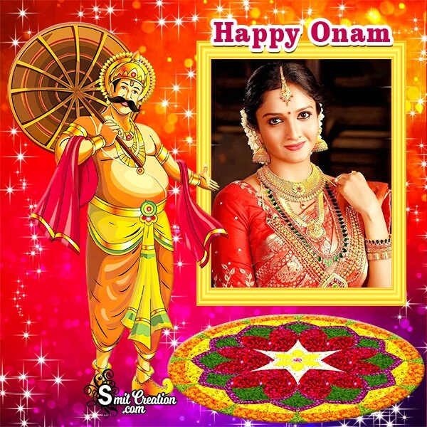 Happy Onam Glitter Photo Frame