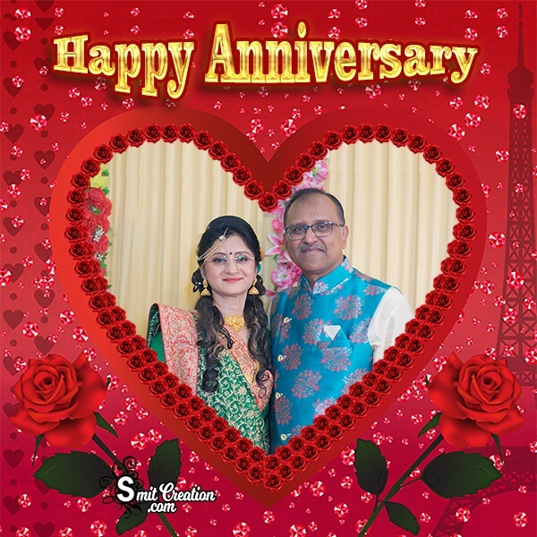 Anniversary Roses Heart Photo Frame