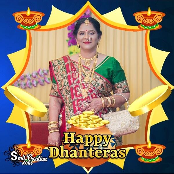 Happy Dhanteras Gold Pot Photo Frame
