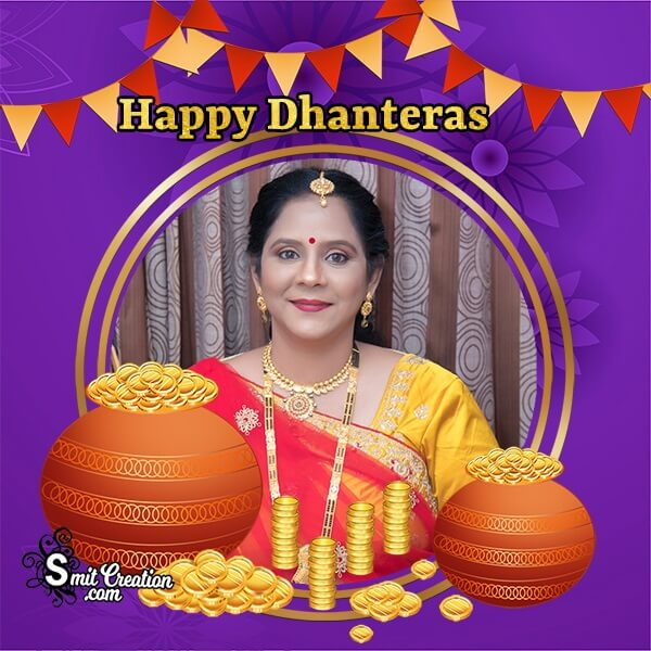 Happy Dhanteras Gold Pots Photo Frame