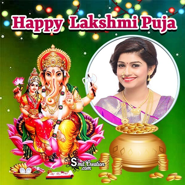Happy Lashmi Puja Gold Photo Frame