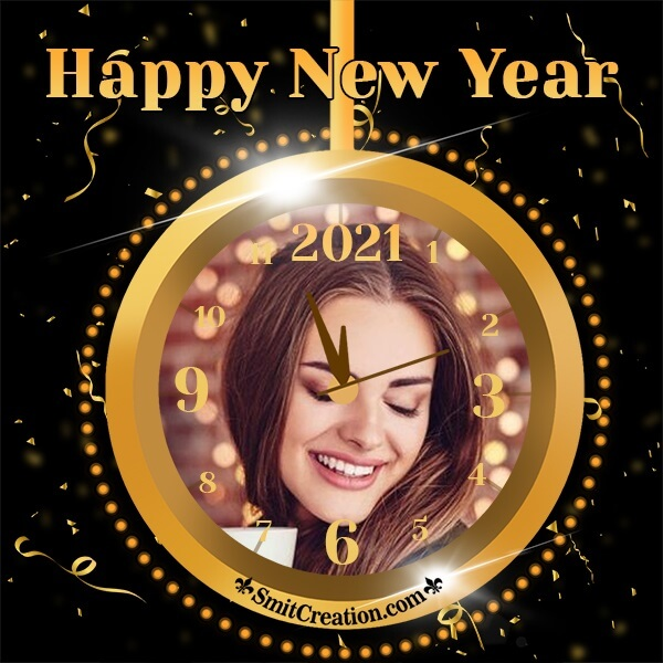 Golden Happy New Year Clock Photo Frame