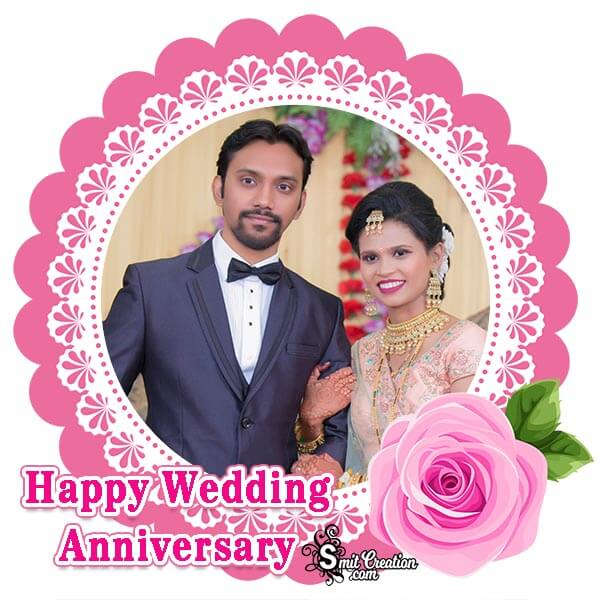Happy Wedding Anniversary Rose Photo Frame