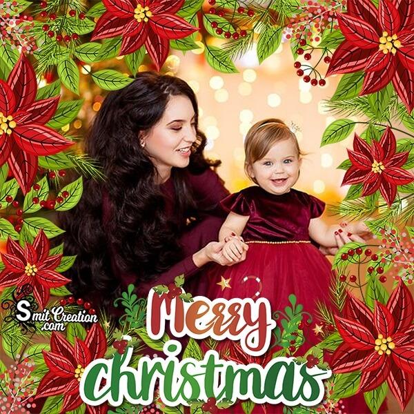 Merry Christmas Poinsettia Photo Frame