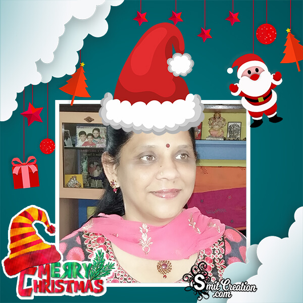 Merry Christmas Santaclaus Cap Photo Frame