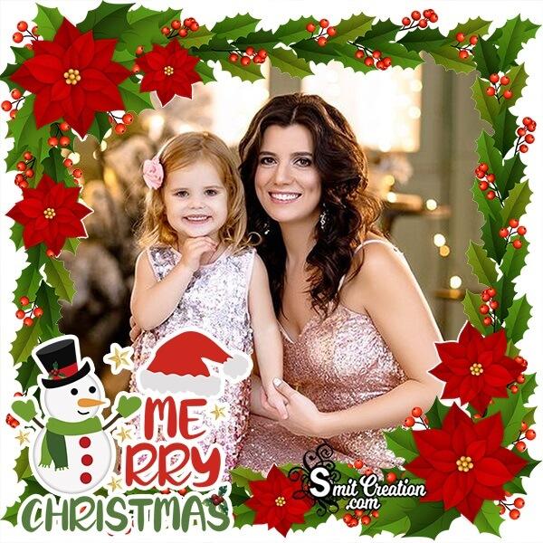 Poinsettia Merry Christmas Photo Frame