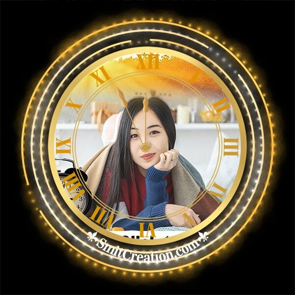 Shiny Clock Photo Frame