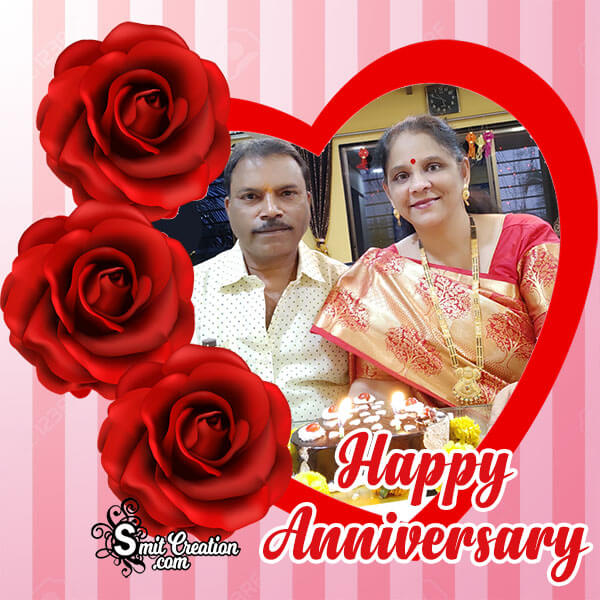 Happy Anniversary Red Roses Photo Frame