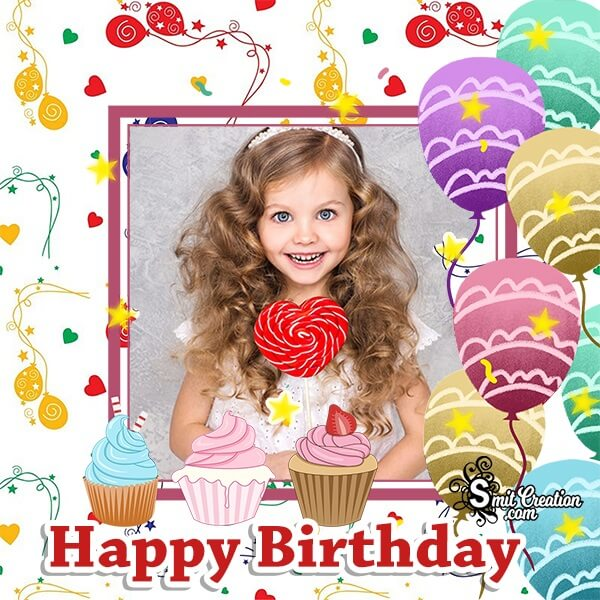 Happy Birthday Colourful Balloons Photo Frame