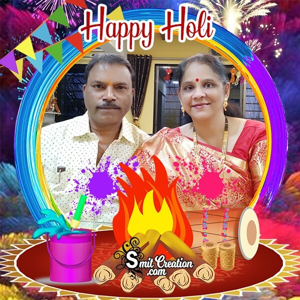 Happy Holi Bonfire Photo Frame