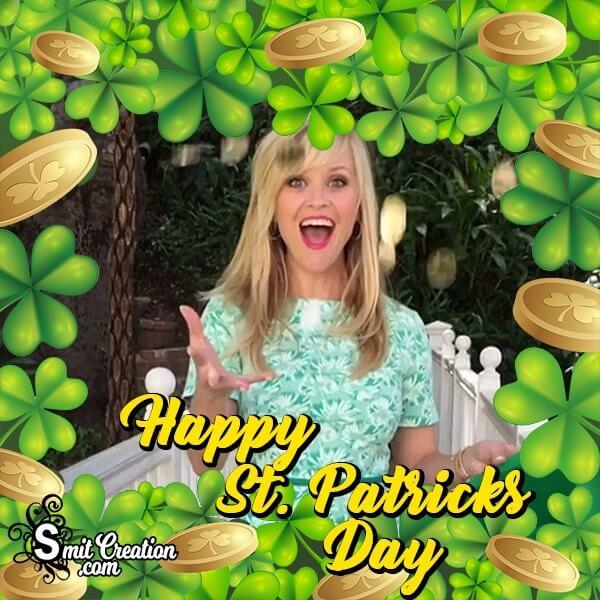 Happy St Patricks Day Shamrock Border Photo Frame