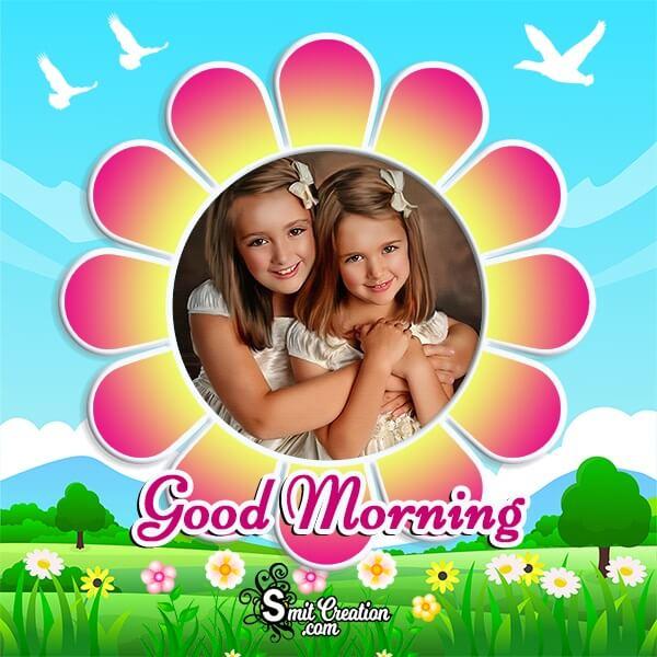 Good Morning Flower Photo Frame