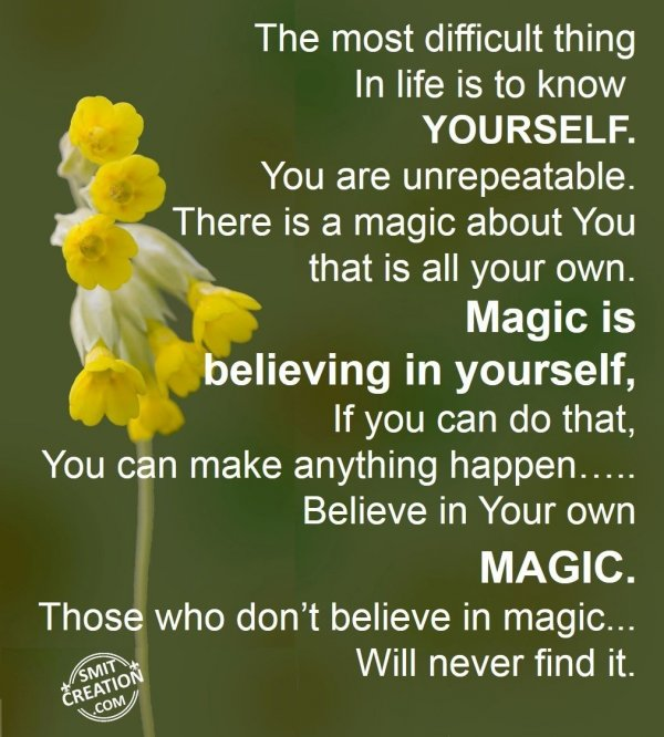 Know Yourself..Believe in Yourself..