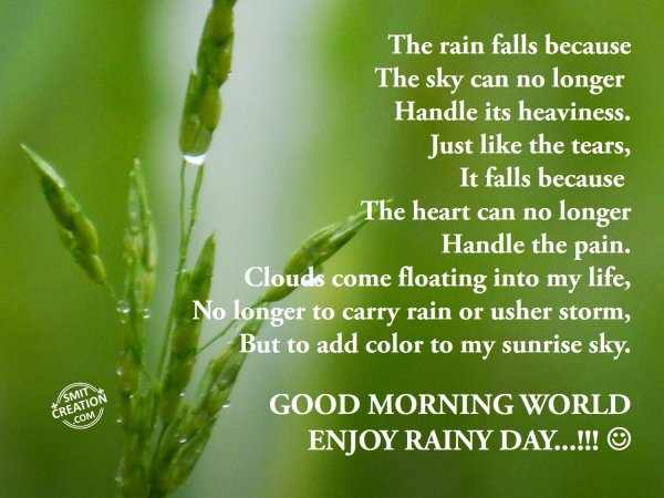 GOOD MORNING WORLD- ENJOY RAINY DAY…!!!