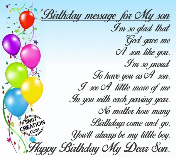 Birthday message for My son