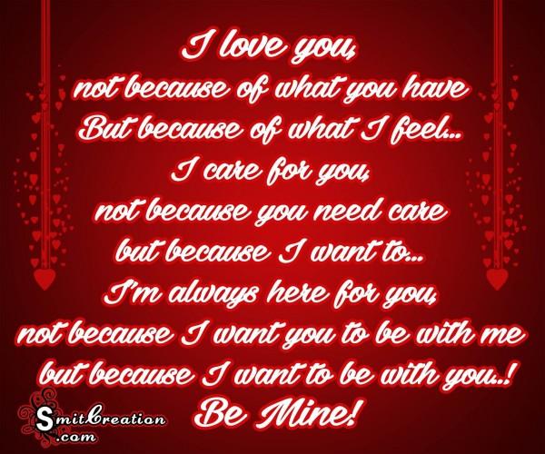 I love you, Be Mine!