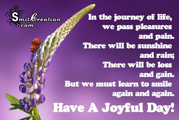 Have a joyful day – In the journey of life
