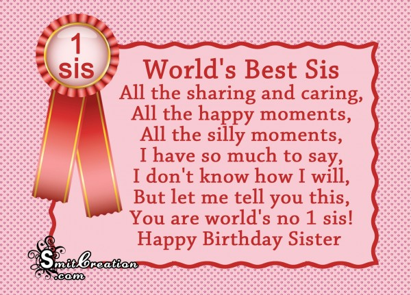Happy Birthday Sister – World's Best Sis
