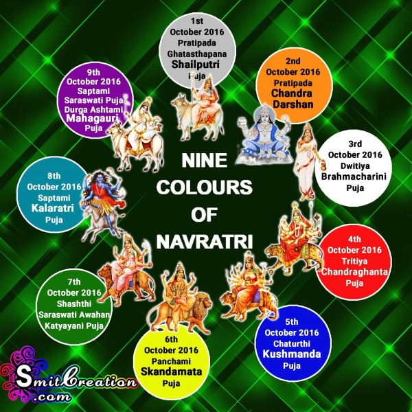 NINE DEVI PUJA – NINE COLOURS OF NAVRATRI 2016