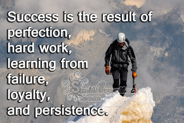 Success is the result of perfection, hard work