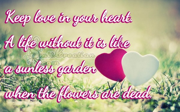 Keep love in your heart.