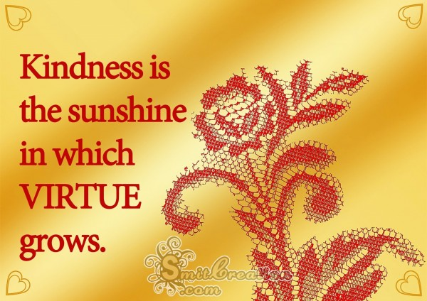Kindness is the sunshine  in which virtue grows.