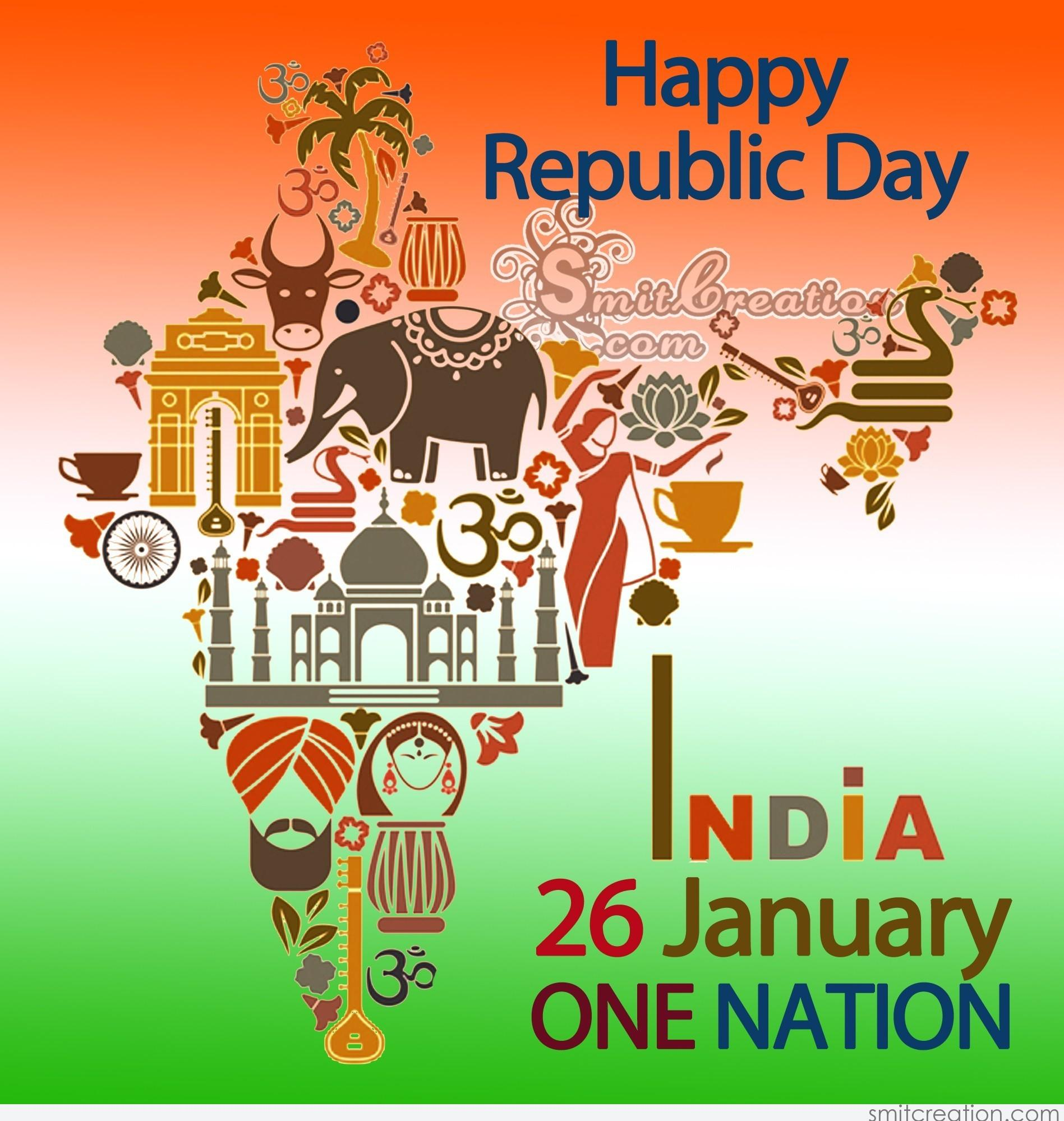 Happy republic day india 26 january one nation smitcreation download image m4hsunfo
