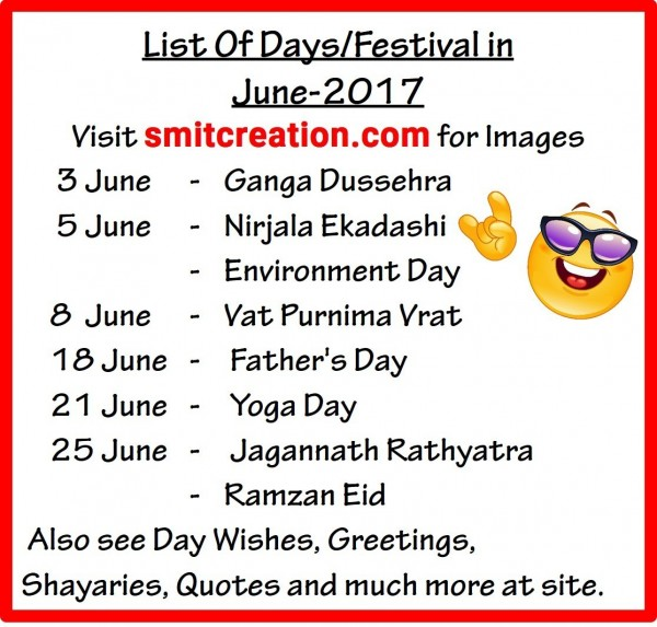 List Of Days/Festival in June – 2017
