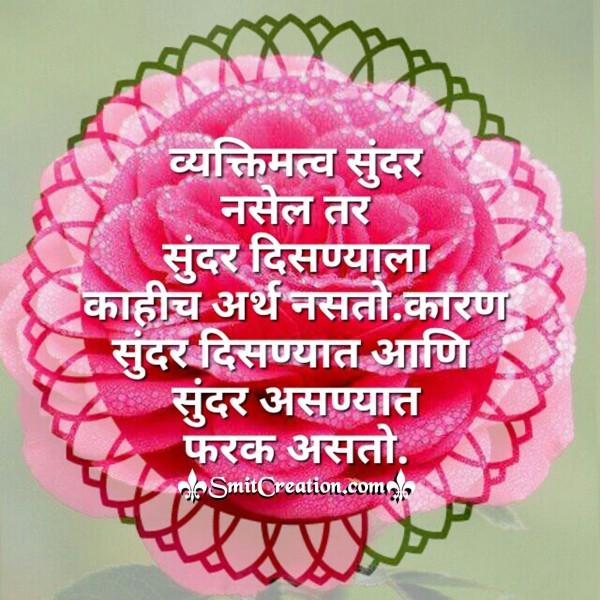 Vyaktimatv Sunder Nasel Tar Sunder Disnyala Kahich Arth Nasto