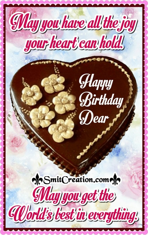 Happy Birthday Dear – May You Get World's Best In Everything