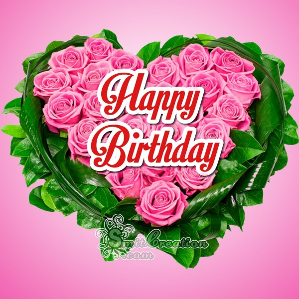 Happy Birthday Rose Heart Bouque
