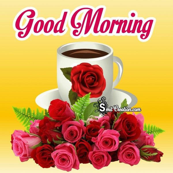 Good Morning Rose Bouque With Cup Of Coffeee