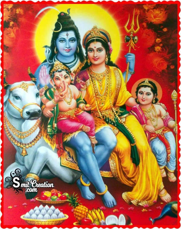 Shankar Parvati with Ganesha and Kartikey