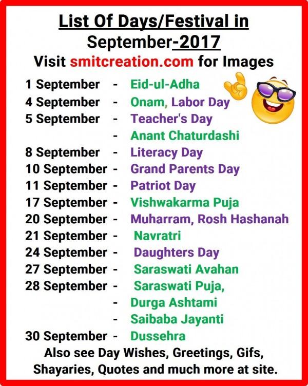 List Of Days/Festival in September – 2017