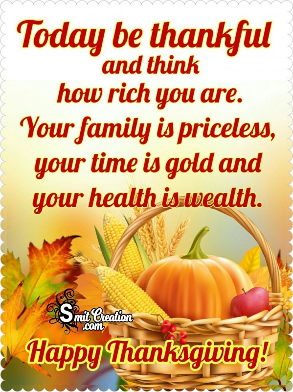 Happy Thanksgiving – Today Be Thankful