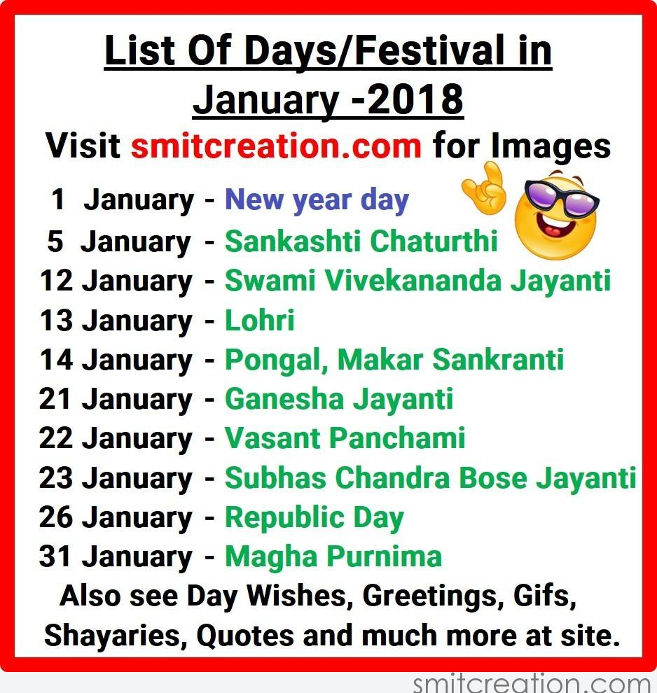 List Of Days/Festival in January – 2018