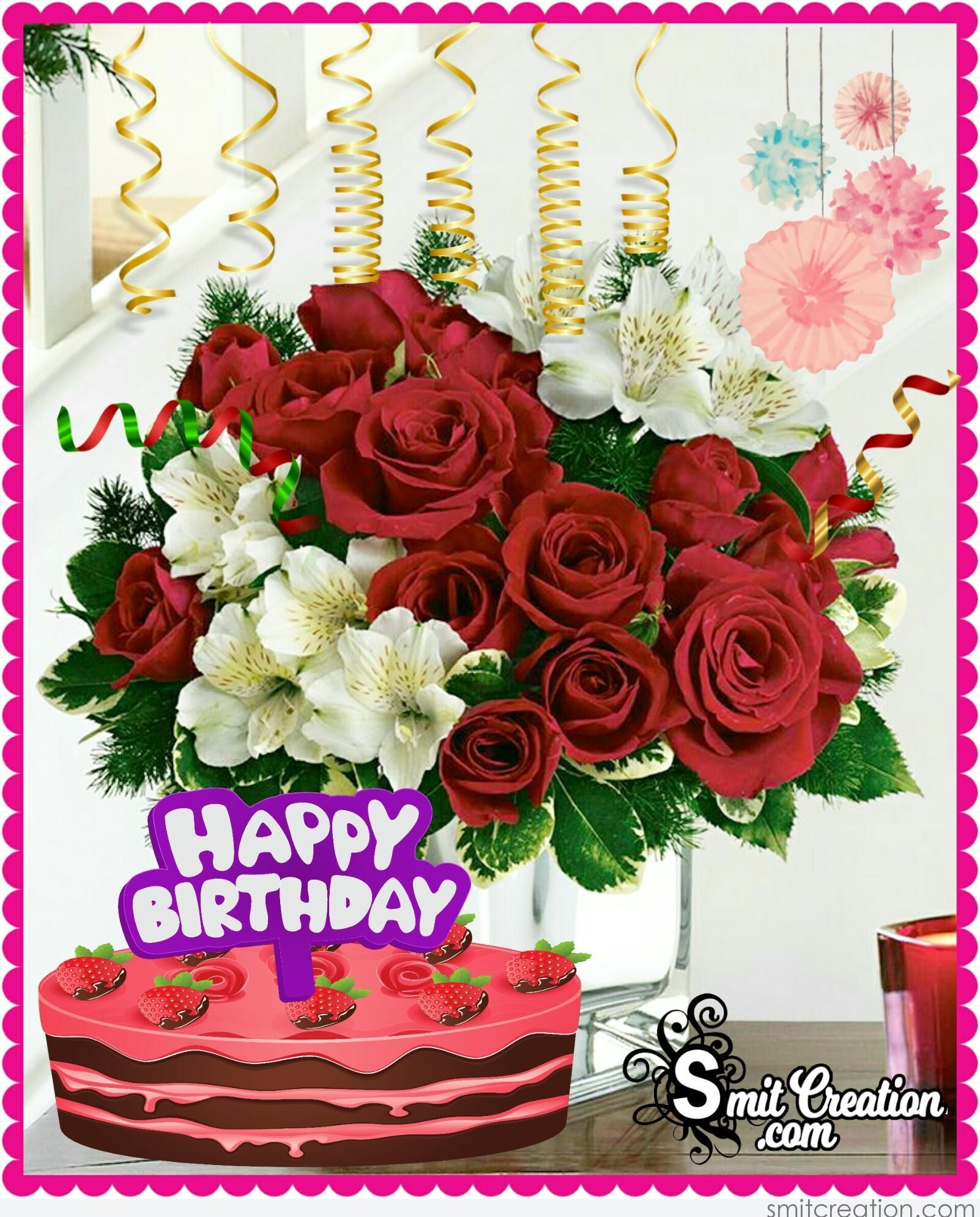 Happy Birthday Flower Bouquet with Cake - SmitCreation.com