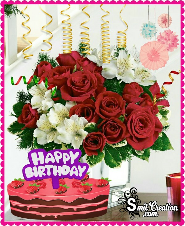 Happy Birthday Flower Bouquet with Cake