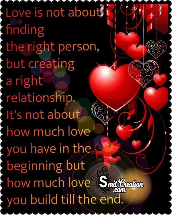 Love Is Not About Finding The Right Person  But Creating A Right Relationship