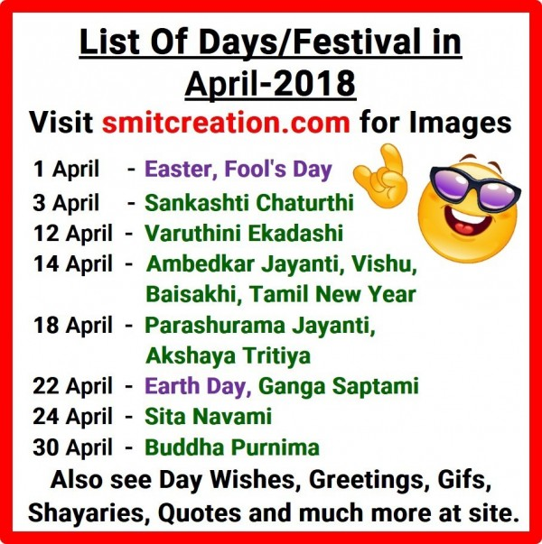 List Of Days/Festival in April – 2018