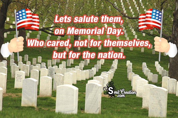 Lets Salute Them, On Memorial Day.