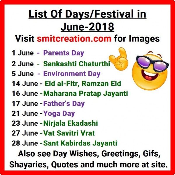 List Of Days/Festival in June – 2018